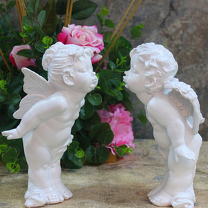 Kiss angelThe Angels Resin Figures of European Garden Ornaments Home Furnishing Craft Ornament Praying The Little Angel Statue