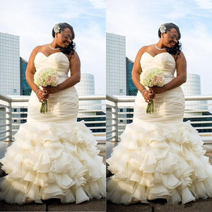 2018 Plus Size Mermaid Wedding Dresses African Sweetheart Ruched Draped Strapless Tiered Skirts Ruffles Dubai Beaded Sashes Bridal Gowns