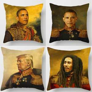 Peintures à l'huile Être célèbre Portrait Cushion Covers Obama Trump Bill Murray Coussin Sofa décoratif Linge Taie Chambre Décor