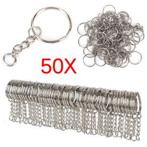 50 pcs Polido Cor Prata 25mm Chaveiro Chaveiro Dividir Anel com Cadeia Curta Anéis Chave Homens Mulheres DIY Chaveiros acessórios
