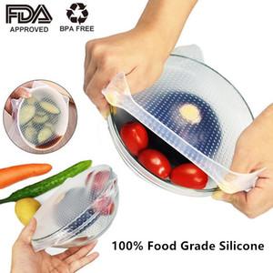 5pcs / set 실리콘 식품 포장 재사용 가능한 에코 실리콘 식품 학년 신선한 포장 유지 스트레치 인감 진공 커버 스트레치 덮개 환경 도구