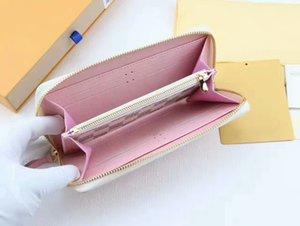 유명 브랜드 여성 카드 소지자 정품 가죽 롱 지퍼 지갑 A82 상자가있는 고품질 Clemence 지갑 무료 배송 60017
