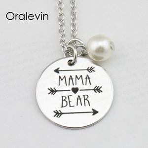 Venta al por mayor MAMA BEAR Collar de flecha Regalo para mamá Día de la madre regalo joyería 22MM, 10Pcs / Lot, # LN1319