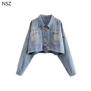 NSZ Women Jean Jacket Denim Coat manica lunga corta Capispalla Oversize Crop Coat