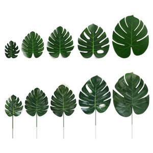 Fake leavas Artificial Tropical Palm DYI Leaves Green Monstera Leaves for Home Kitchen Party Decorations Handcrafts