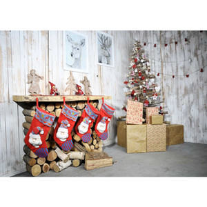 Festa de Natal Xmas Foto Fundo Impresso Lareira Meias Vermelhas Presentes Decorados Árvore De Natal Elk Quadros de Madeira Cenários de Parede