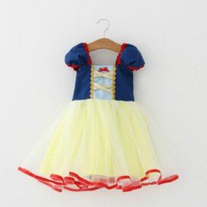 Vestiti delle ragazze di estate Vestiti da principessa bianchi dalla tuta del manicotto del manicotto dai vestiti da principessa di Snow White per le neonate Vestiti dal pizzo del partito