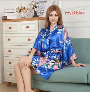Erstaunliche Frauen Kleider Silk Floral Printing Robe Einzelne Kurze Kimono Bademantel Strickjacke Frauen Kurze Floral Dressing Nachtkleider Schlaf