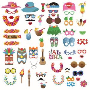 60pcs / Set partido PhotoBooth Props casamento Photo Booth Props havaianas Photobooth Props para Praia Verão, Enfeite Piscina do partido de Luau