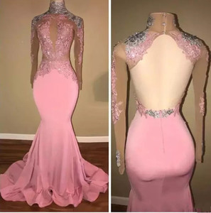 Elegant Mermaid Pink Prom Dresses Long 2018 High Neck Sheer Long Sleeves Backless Beaded Lace Appliques Prom Evening Party Gowns