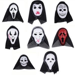 Tamanho livre Festa de Halloween Cosplay Máscara Assustadora Masquerade Vestido de Festa de Látex Fantasma do Crânio Assustador Scream Máscara Rosto Terrível Capuz Máscara em estoque