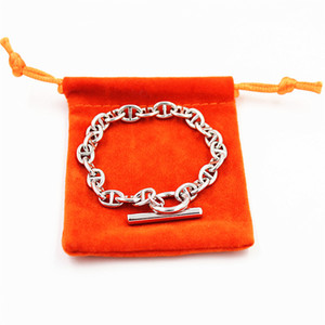 Alta calidad H Brand Link pulseras joyería para mujeres hombres acero titanium para siempre Love pulseras brazaletes con pulseras originales YX030
