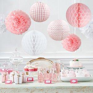 Eco-Friendly Birthday Party de mariage papier Diy Décor Set Rose / Bleu / Rouge / Green Lantern Honeycomb Boule Pompon fleur Tassel Garland