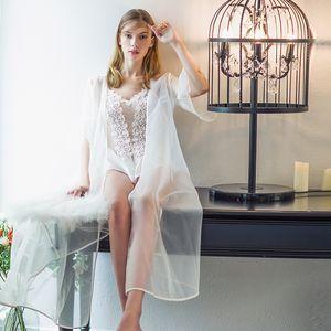 Lisacmvpnel Sexy Lace 1 Pc da notte da donna Robe da donna a maniche lunghe