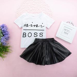 T-shirt do bebê Saia Ternos Algodão Meninas Sólida Carta Impressa Mini BOSS T-shirt de Manga Curta de Couro Falso Cintura Elástica Saias Curtas Outfits