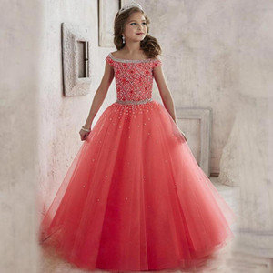 2019 Bellezza Tulle Princess Pageant Flower Girl Dress For Wedding Brithday Party Dress Off spalla paillettes Abiti da spettacolo Pageant