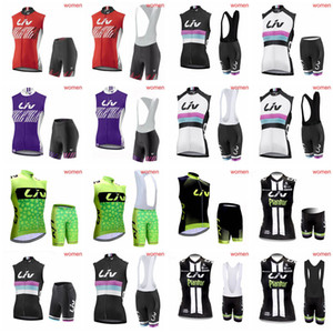 Equipo LIV Ciclismo Jersey sin mangas Chaleco bib shorts establece ventas superiores mujeres montando al aire libre nuevos productos cómodos D2011