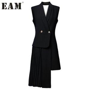[EAM] 2018 Novo Outono Cor Sólida Preto Sem Mangas Asymmetric Stitcing V-collar Irregular Colete Mulheres Vest Moda Maré J47801S