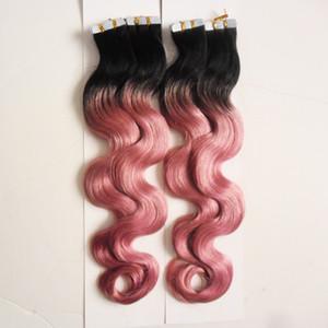 """Ombre Цветная лента для наращивания волос человеческие волосы 200 г 80 штук T1B / Pink 100% Real Remy Human Tape в наращивание волос объемная волна 10 """"-26"""""""