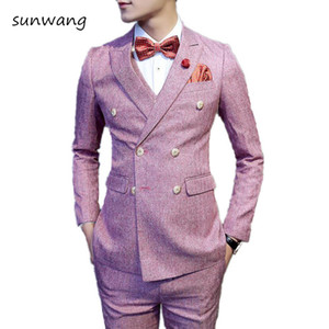 2017 Custom Made 3 Piece Slim Fit Hot Pink Tuxedo Jacket Double Breasted Wedding Suits For Men Suit Regular Groom Party Dress