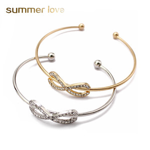 Gold Silber Kristall Strass Charm Infinite Armbänder Armreifen für Frauen Nummer 8 Liebe Manschette Armreif Fashion Open Arm Schmuck Zubehör