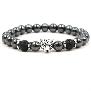 Black lava stone bead bracelets natural stone beads bracelet leopard head men bracelet jewelry