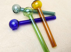 Short Colored Glass Burner Mini Smoking Handle Pipes Smoking Pipes High Quality Burner Oil Burner Free Shipping GFHHHN