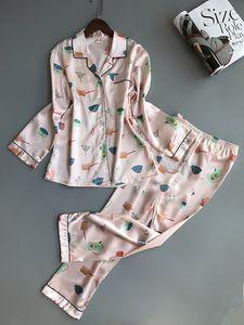 2018 Donne Pigiama Satin Sleepwear Pigiama Home Wear Pigiama di seta Home Suit Flower Stampa Sweet Cute Home Abbigliamento Sleep Lounge
