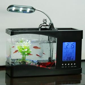 Fish Tank Mini miniatura ecológica tanque de peces de colores tortuga multifunción Yakli pescado TankAquarium USB