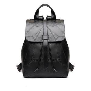 Cuoio genuino Nuovo zaino nero donne zaino ragazza della scuola borse moda di corsa della spalla del sacchetto del progettista semplici Zaini Casual