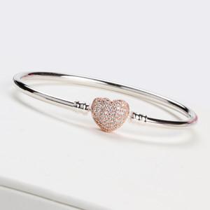 Las mujeres de lujo 18 K de oro rosa en forma de corazón corchete brazalete pulsera conjuntos caja original para Pandora 925 plata esterlina encanto pulseras regalo de boda