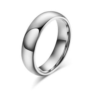 4mm Yüksek Cilalı Gümüş Tungsten Yüzük Düğün Bant Erkekler Kadınlar için 6-14