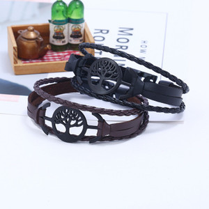 Christmas Tree Leather Bracelets Tree Of Life Buckle Charm Bracelets Handmade Weave Men Women Vintage Wristband Jewelry Christmas Gift DHL