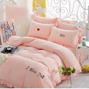 Traje de algodón lavado 4 unids Conjuntos de ropa de cama Minimalismo Color puro i Miss You Edredones Edredones Sábana de lujo Lotus Leaf Cover 85xt3 Ww
