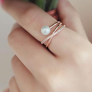 Moda Pérola com 14 K Rose Banhado A Ouro X Anel CZ Criss Cross Empilhável casamento Anéis de Dedo Ajustável para as mulheres