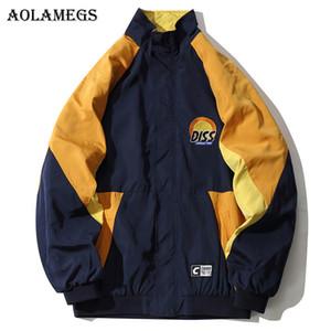 Aolamegs ceketler Erkekler Japon Patchwork Hood Ceket Eşofman Fermuar Coats Oversize Hip Hop Moda Erkek WINDBREAKER Streetwear