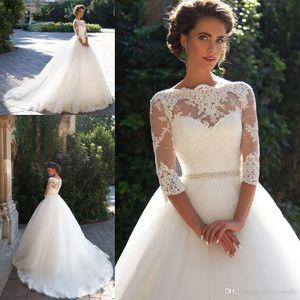 2018 Nova Chegada Manga Longa Bateau Sheer Neck Vestidos de Casamento vestido de Baile Rendas Applique Pérola Vestidos de Noiva Vestido De Novia Personalizado