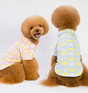 Pet Polo Собаки Мягкие Поставки Хлопчатобумажная Печатная Одежда Маленькие Собаки Воротник Down Doggy Оптовая Кнопка Чисто Пижама повернуть FTTRC
