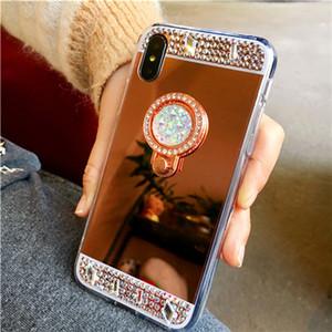 Titulaire de bague strass Bling Bague Kickstand Mirror Phone Case pour iPhone X Xs 6 6S 7 8 Plus Max XR 5S Samsung S7 Bord S8 S9 Plus Note 8