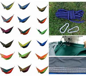 36 Cores Portátil Tecido De Nylon Duplo Pessoa Parachute Hammock Jardim Ao Ar Livre Camping Seguro Pendurado Cama Crianças Dormir Balanço 275 X 140 cm DDA770