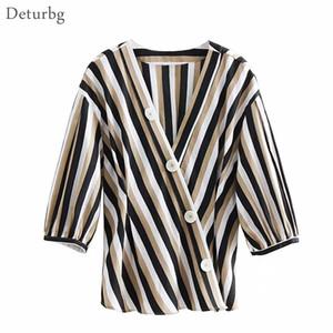 Deturbg женщин старинные полосатый V шеи рубашки дамы повседневная 3/4 рукав крест застегнутые блузки топы и блузки 2018 осень Br515