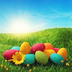 Background sol Blue Sky Colorful Easter Eggs Fotografia Backdrops vinil impresso Bebê recém-nascido Foto Props verde Pastagem Primavera