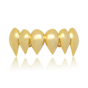 хип-хоп гладкая grillz вампир зубы аксессуары реальные позолоченные верхние зубы стоматологические грили рэпперы ювелирные изделия тела