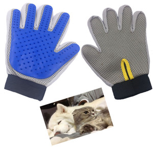 Pet Hair Remover Brush Glove Cat Grooming Dog Deshedding Bath Cleaning Glove Blue and Grey Color