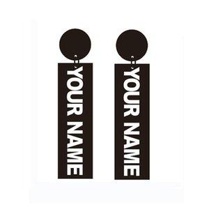 Personal Custom Your Name Boucles d'oreille Bijoux en or noir, or et blanc C18111901