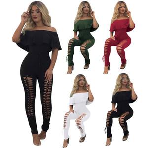 패션 Jumpsuits 중년 여름 Bodycon 드레스 섹시한 Ruffled 캐주얼 점프 슈트 스판덱스 스키니 새로운 Rompers Bodycon 민소매 드레스와 Tiie