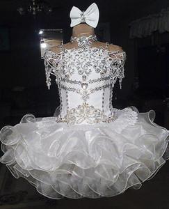 Pizzo bianco perline halter manica corta organza ball gown cupcake bambina bambine pageant abiti flower girls per matrimoni glitz