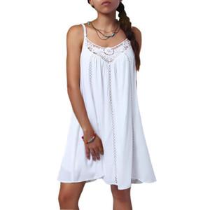 2019 Summer White hollow stitching Slip Dresses Ladies Lace Trim Spaghetti Strap Swing Dresses Vestidos de playa ocasionales
