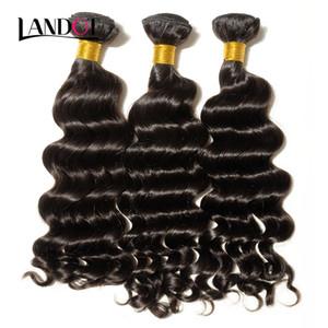 Il la cosa migliore 10A non trattata vergine brasiliana allentato onda profonda capelli umani ricci tessuto 3/4 fasci peruviano malese indiano capelli remy cuticola allineato