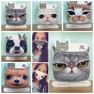 Outdoor smask Mode Baumwolle Staubdicht Warm halten Halbe Gesichtsmaske Cartoon Schöne Katze Hund Druck Masken Mode-Accessoires GGA335 200 STÜCKE